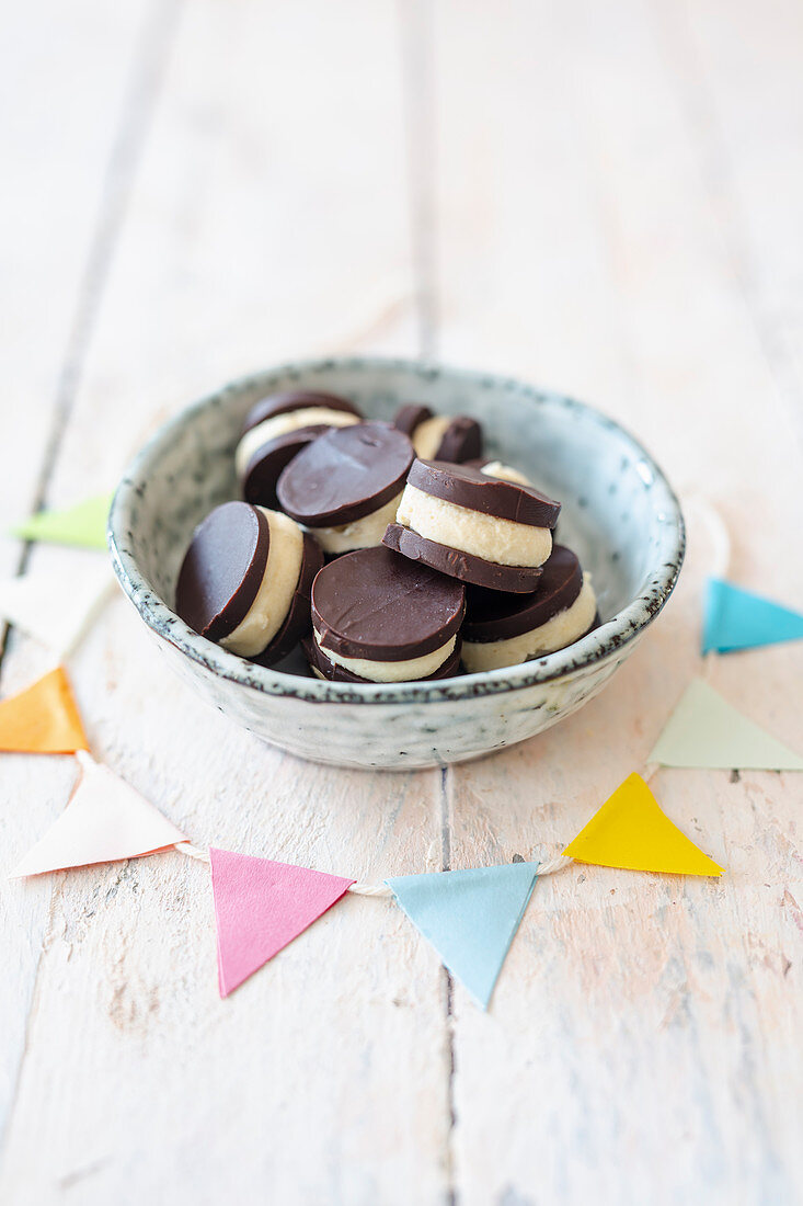 Vegan, homemade After Eight with cashew nut and mint cream
