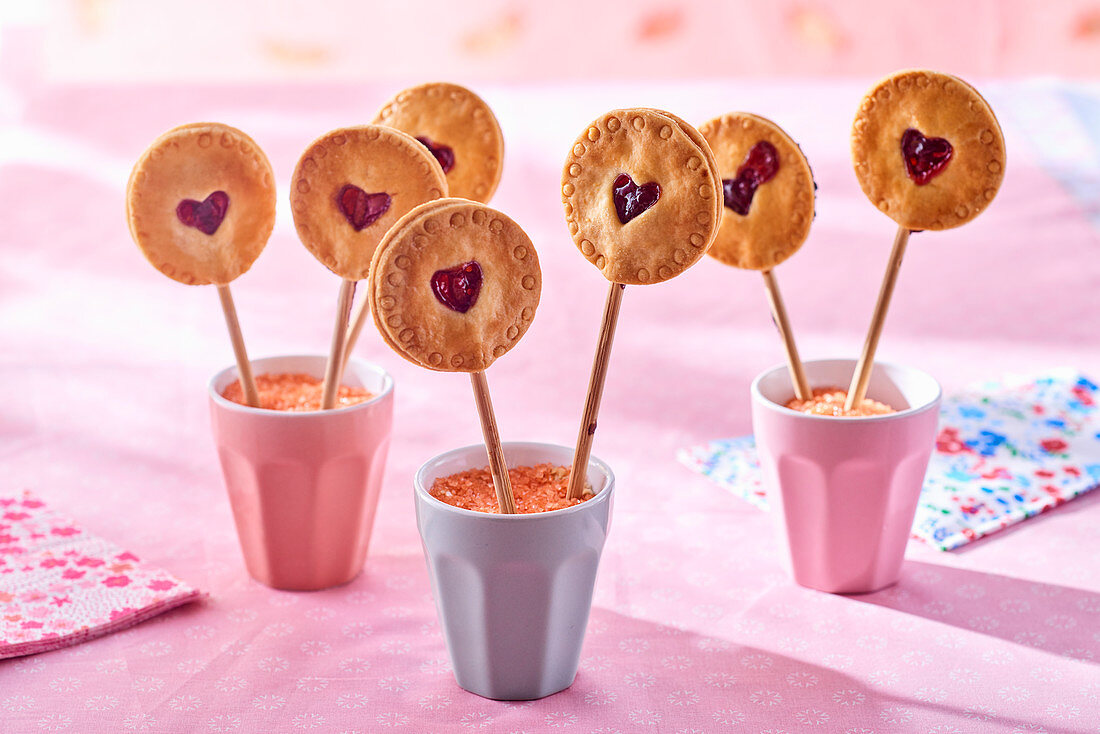 Cherry biscuit lollies with white chocolate