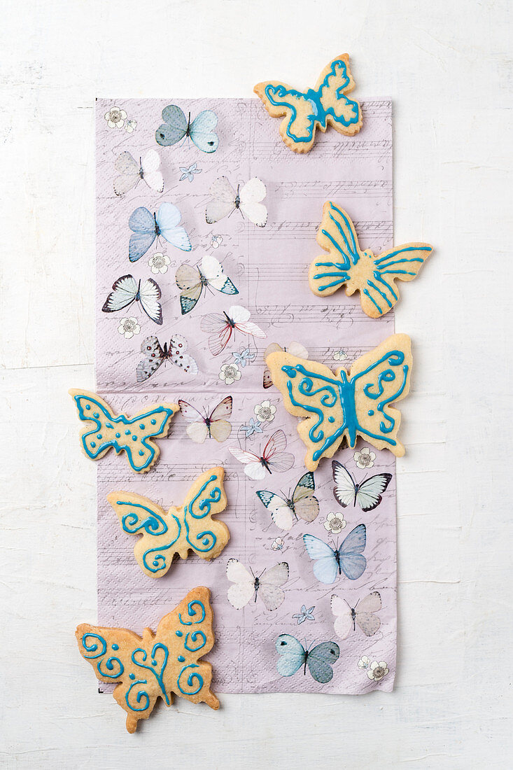 Butterfly biscuits decorated with icing