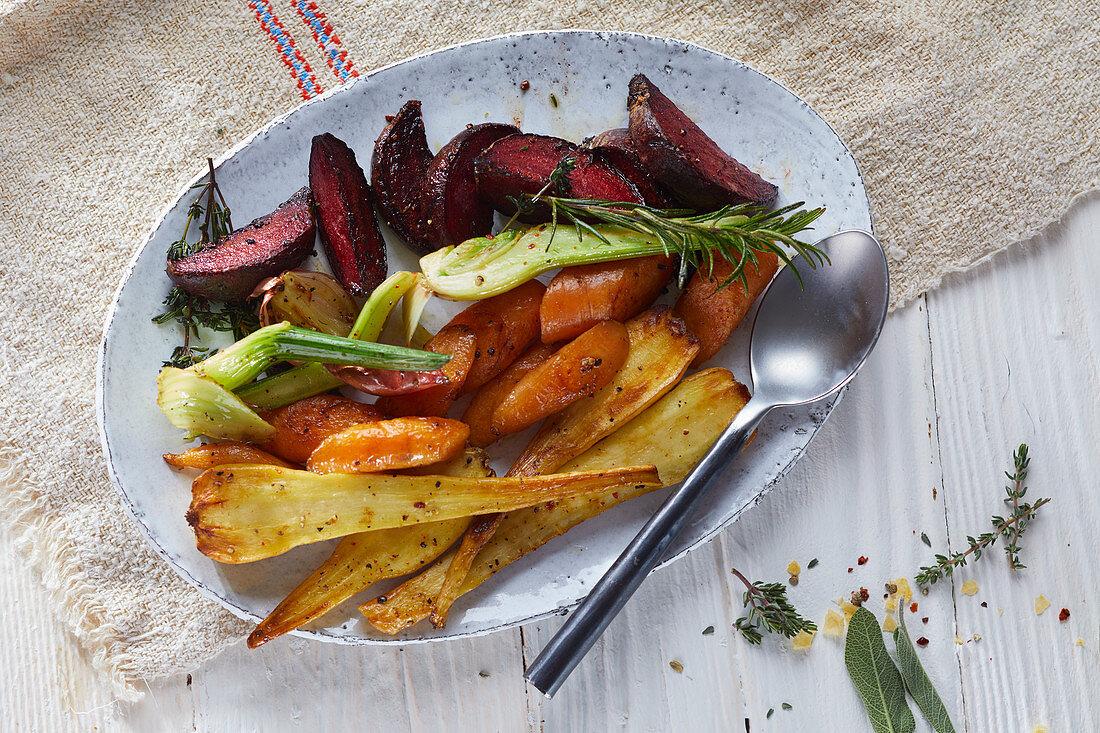 Roasted root vegetables (France)