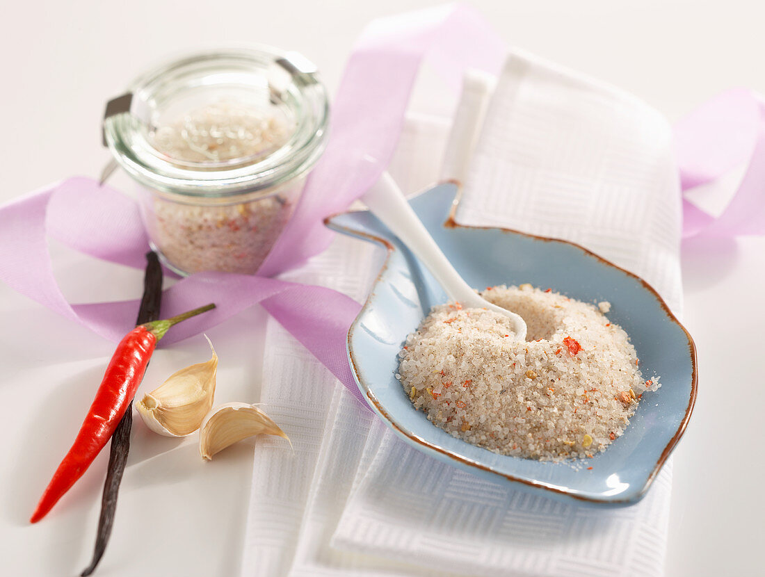 Homemade chilli salt with garlic and vanilla