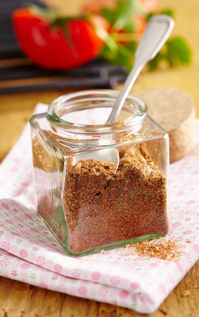 A BBQ spice mixture with pul biber, sugar, sea salt, mustard