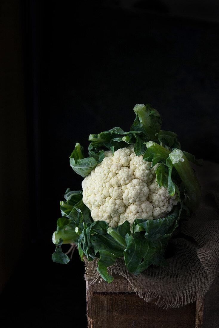 Cauliflower on a linen cloth