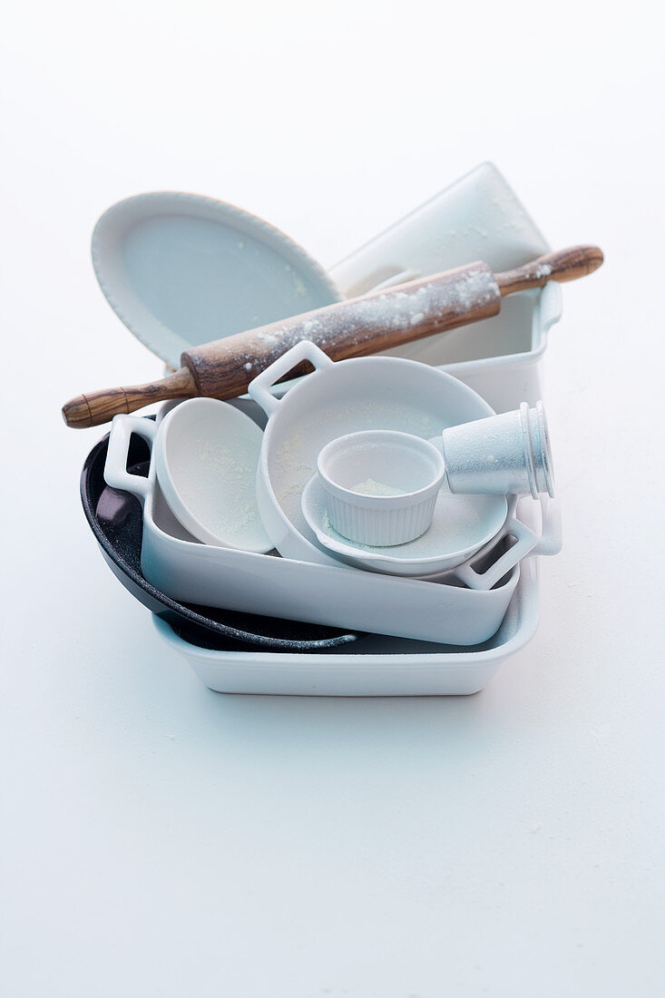Various baking dishes and a rolling pin