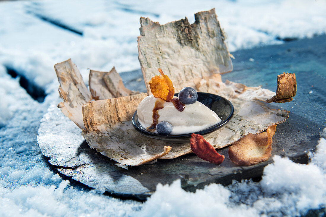 A winter barbecue: birch sorbet with blueberries and syrup (Norway)