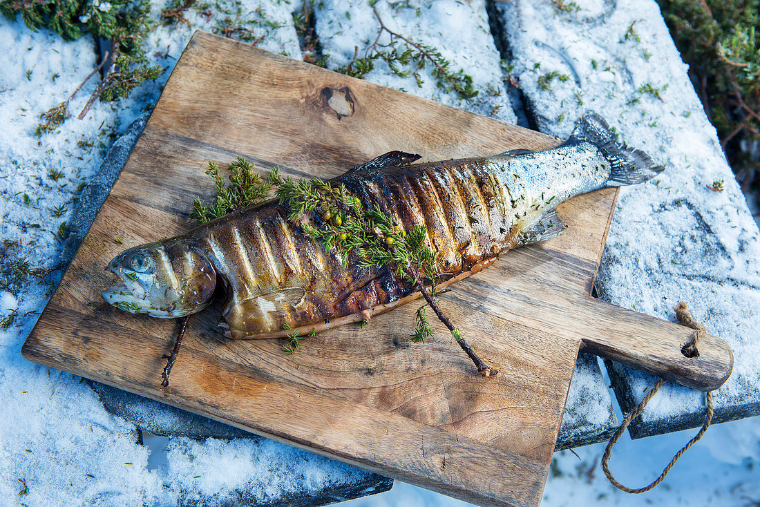 A winter barbecue: smoked salmon trout on a wooden board (Norway)