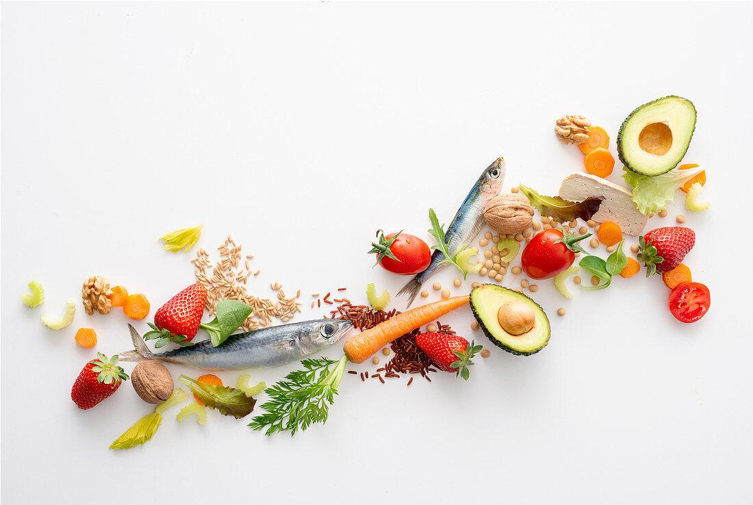 An arrangement of cholesterol-lowering food