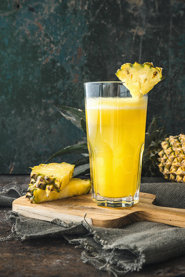 A glass of pineapple juice