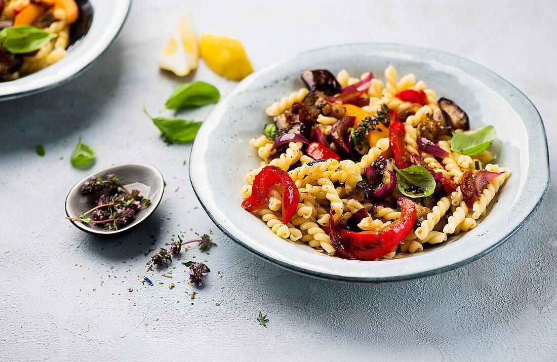 Pasta salad with antipasti vegetables