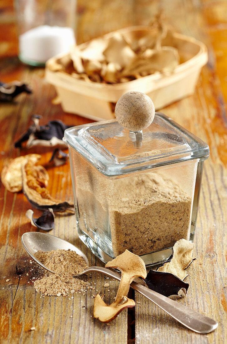 Mushroom salt made with dried mu-err mushrooms, king trumpet mushrooms and mixed wild mushrooms
