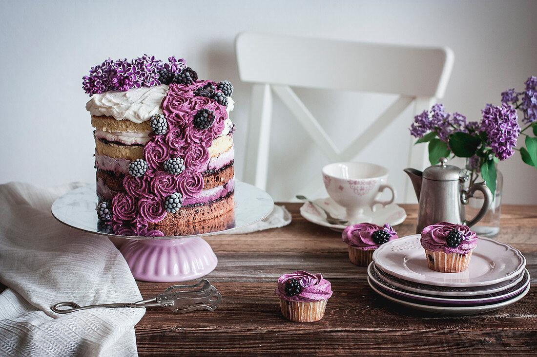 Ombré layer cake with yogurt blackberry cream