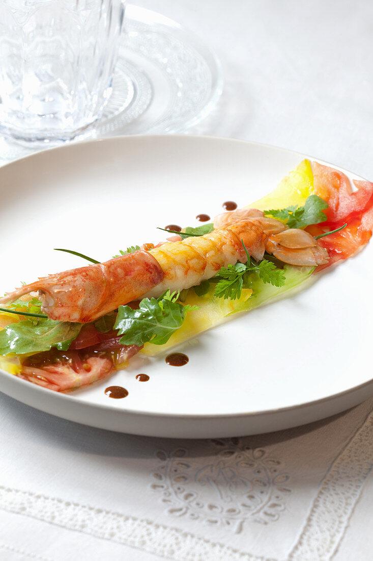 Crayfish on pineapple and cucumber carpaccio