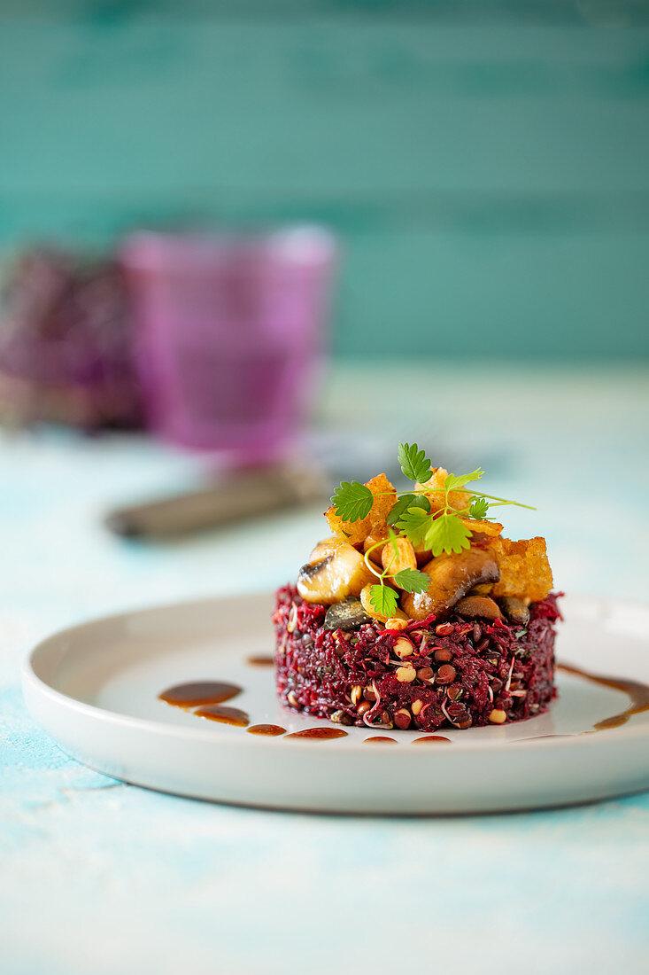 Beetroot salad and sprouting beluga lentils with teriyaki mushrooms and garlic croutons (vegan)