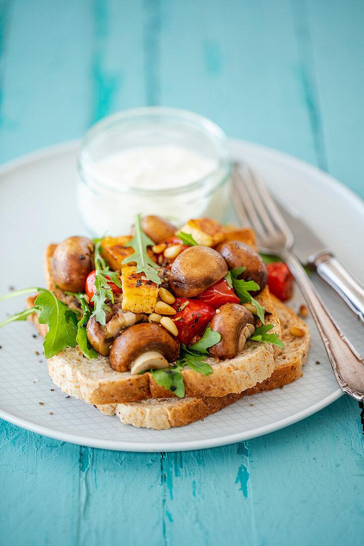 Wholemeal toast with a mushroom salad and yoghurt