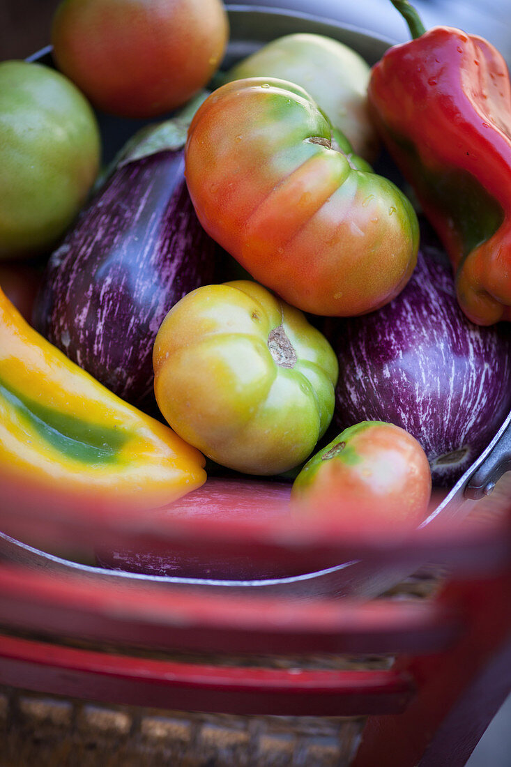 Aubergines, tomatoes and pepper in a metal basket