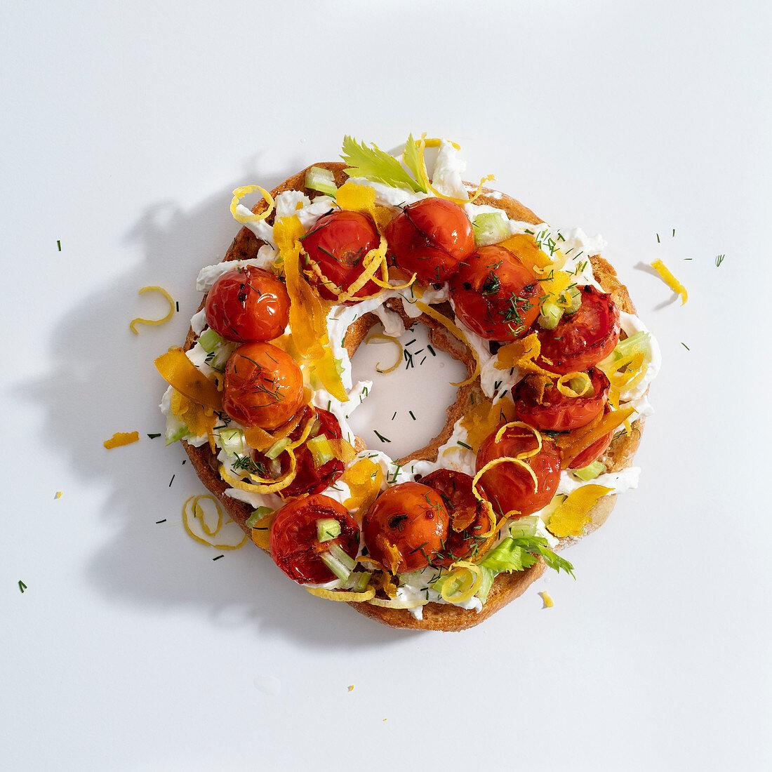 Frisella farcita (topped bread ring, Italy)