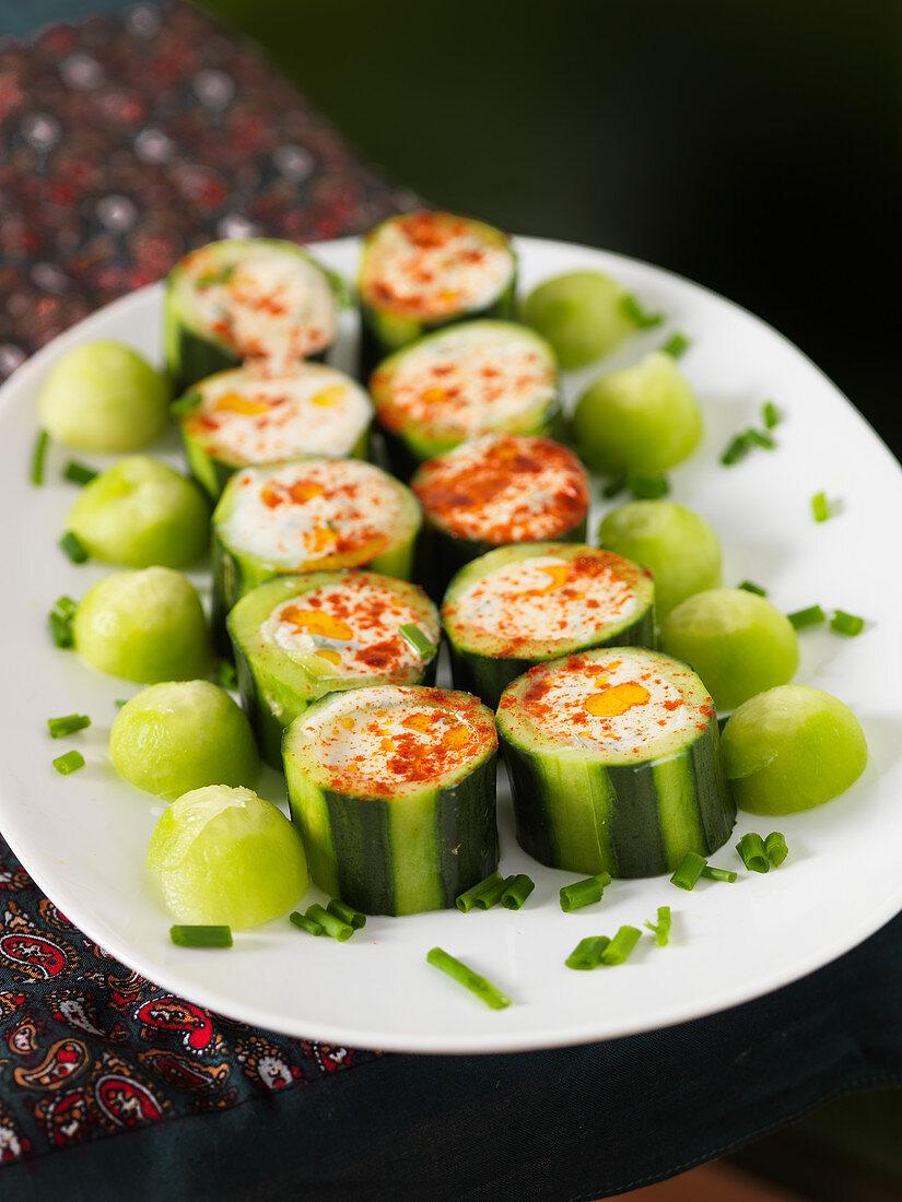 Stuffed cucumbers with tzatziki
