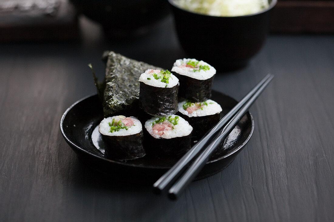 Onigiri and maki sushi with tuna (Japan)