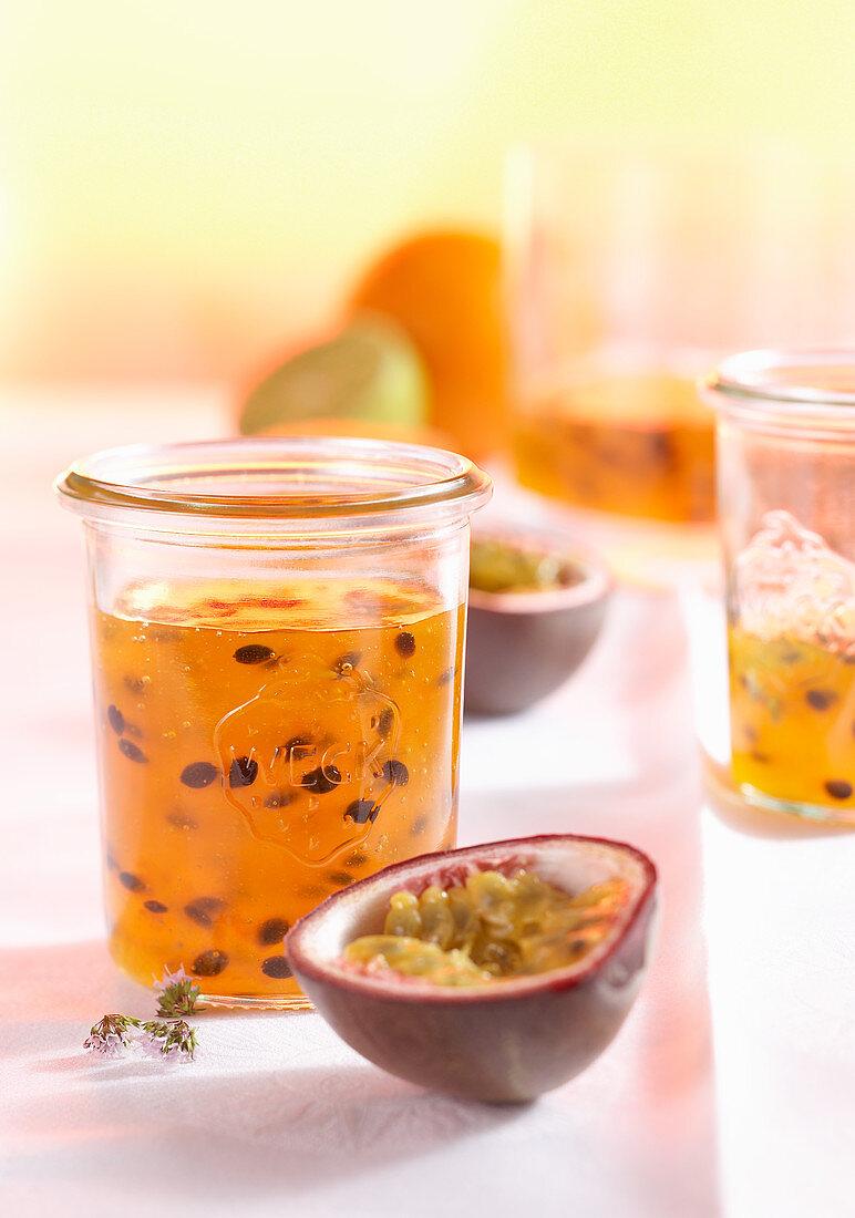 Orange passion fruit jelly in a mason jar