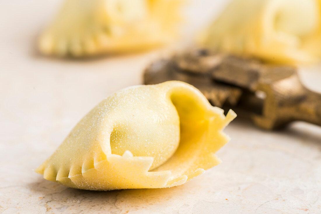 Uncooked ravioli (close up)