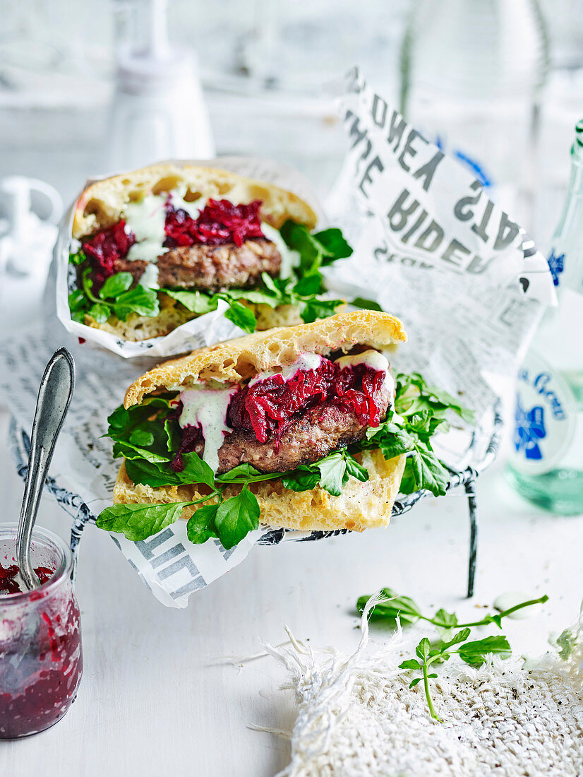 Lamb Burgers with Yoghurt Dressing and Beetroot Relish