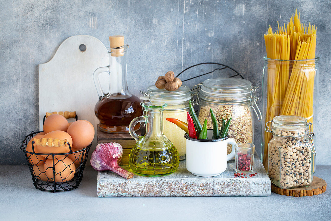 Various food on the rustic kitchen table