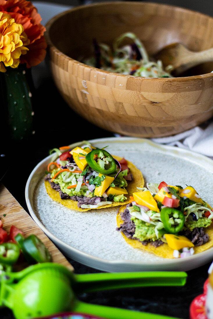 Vegan Tostadas with Mango salsa