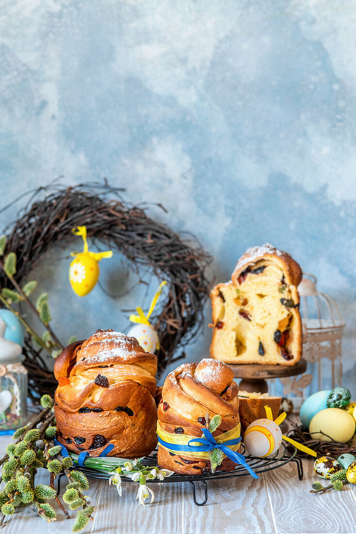 Traditional Russian Easter cakes kulich formed as cruffins