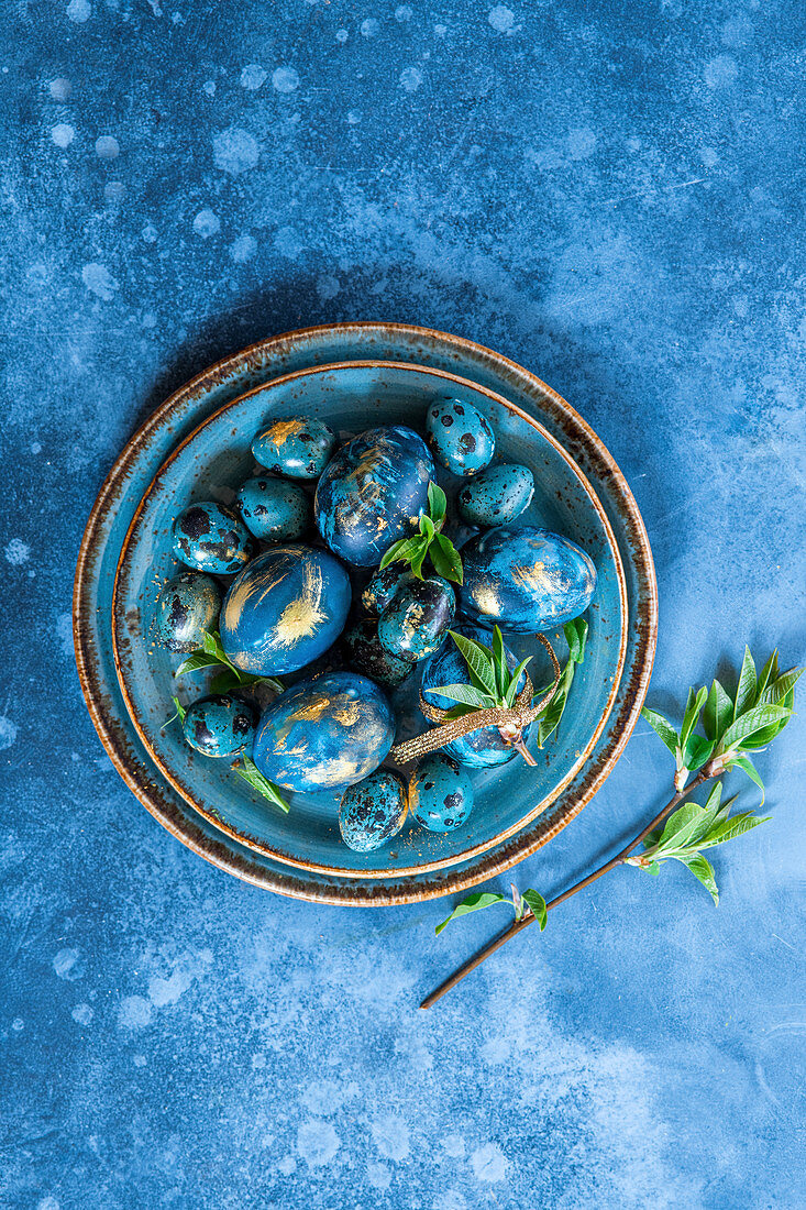 Easter eggs colored with red cabbege