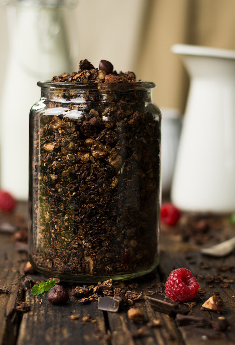 Granola with chocolate in a storage jar