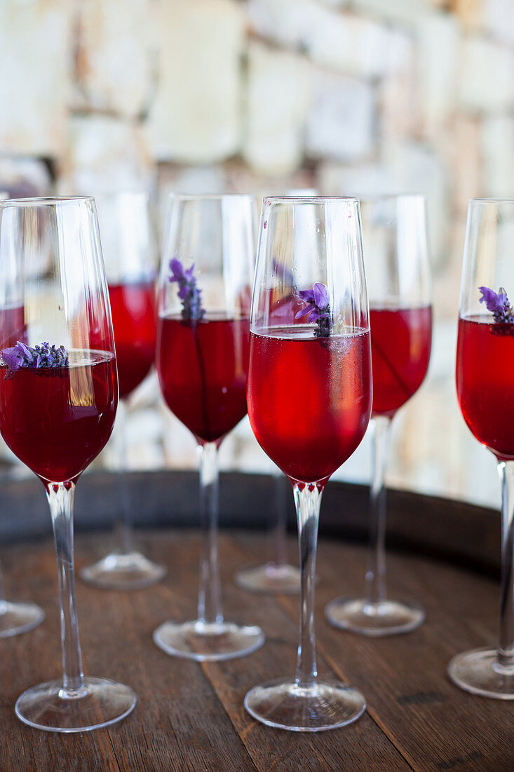 Aperitif with lavender flowers