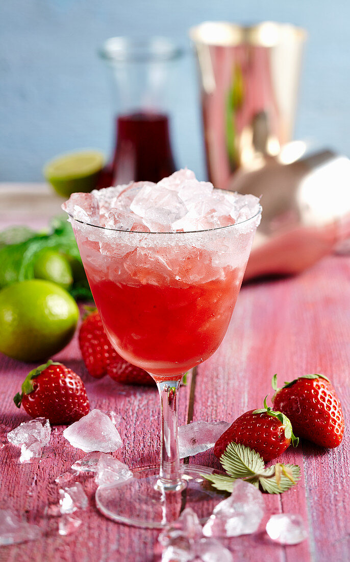 Salted margarita, strawberries, strawberry syrup, tequila, cointreau and crushed ice