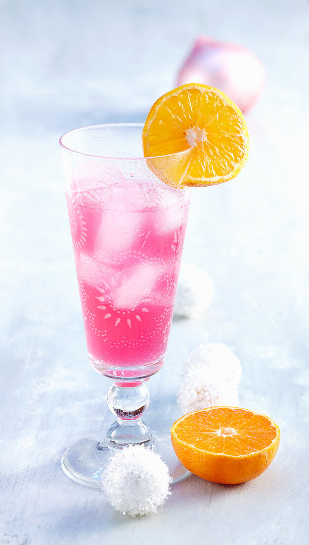 Pink Lady - a cocktail with orange liqueur, grenadine and gin for Christmas