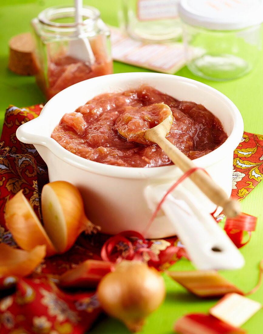 Rhubarb chutney in a saucepan