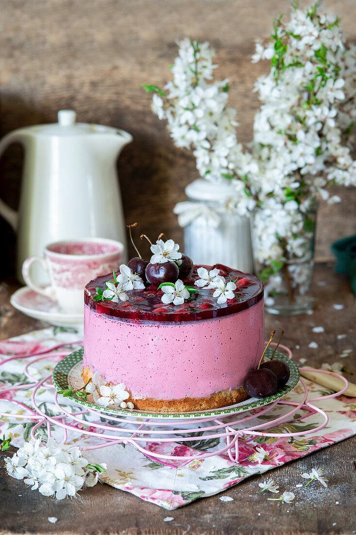 Cherry jelly cake with cream cheese