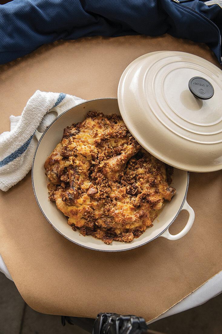 Chicken au gratin casserole in cream dutch oven