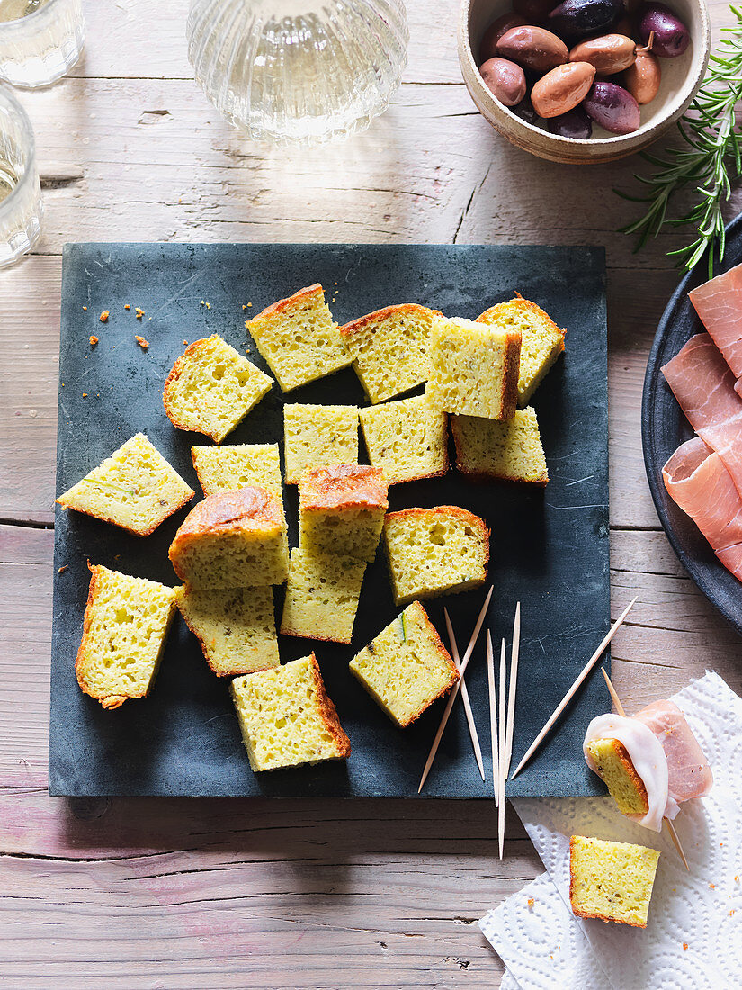 Spiced corn and courgette cake, diced