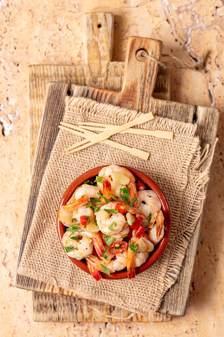 Tapas - shrimps with garlic and chili (Spain)