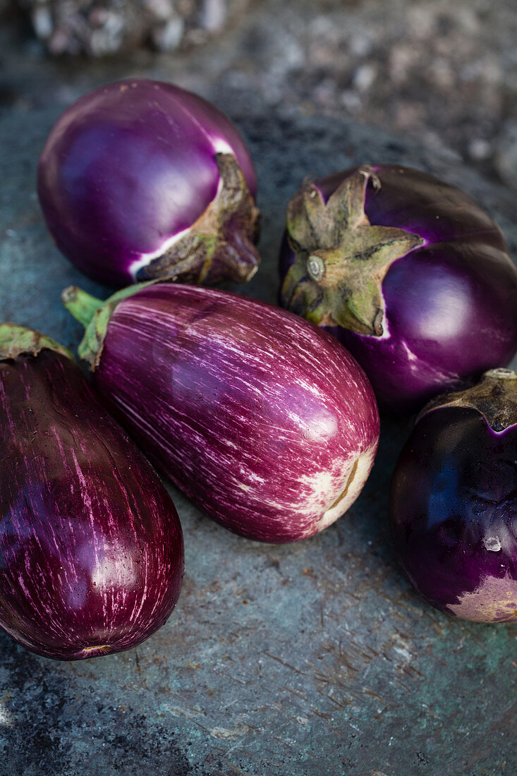 Aubergines on a wall
