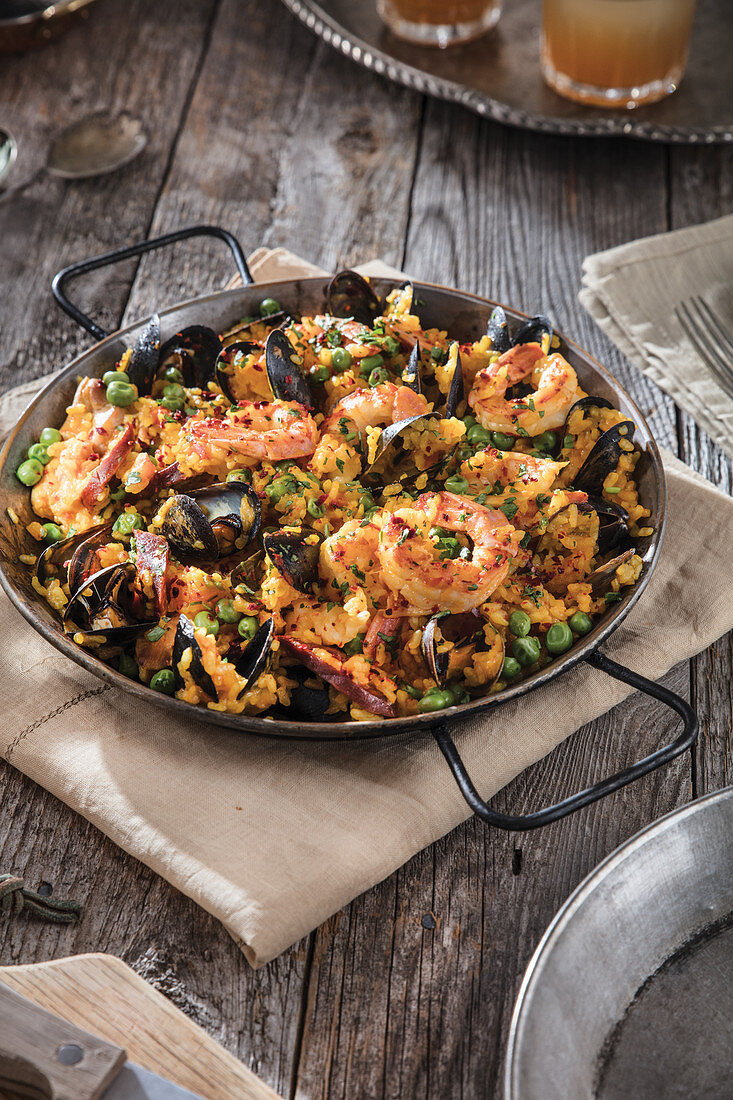Spanish paella in a pan