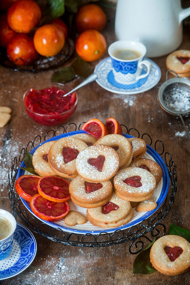 Blood orange jam cookies