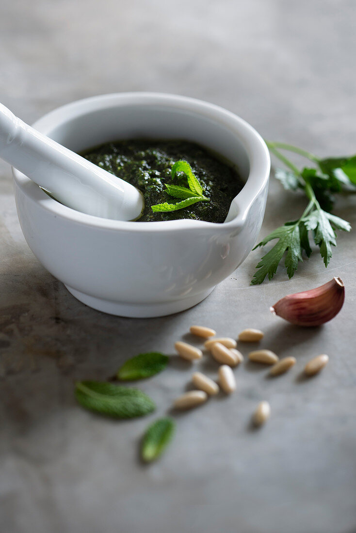 Peppermint and parsley pesto with garlic and pine nuts