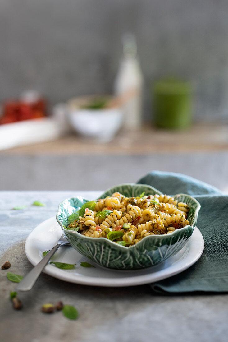 Pasta al pesto eoliano (pasta with herb caper pesto, Italy)