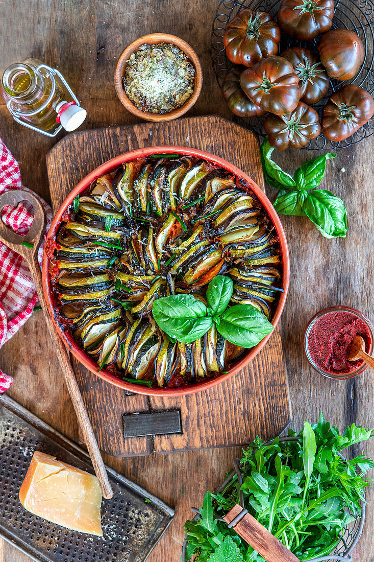 Baked vegetables in a baking dish