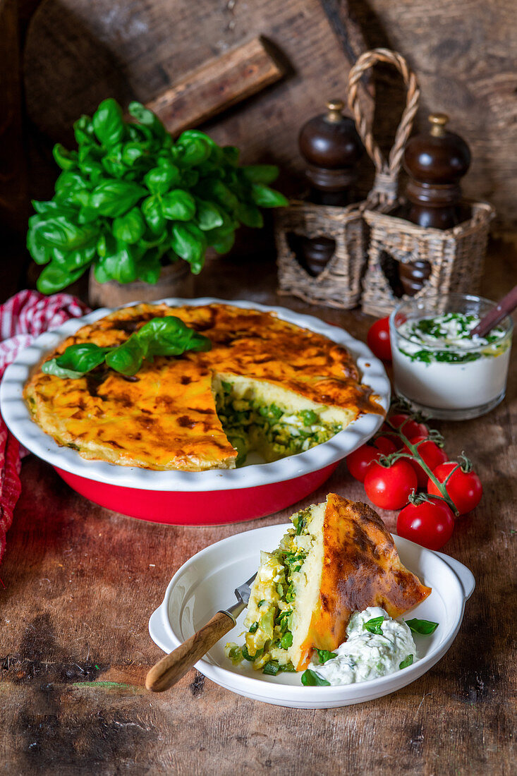Potato bake with vegetable filling and herb quark