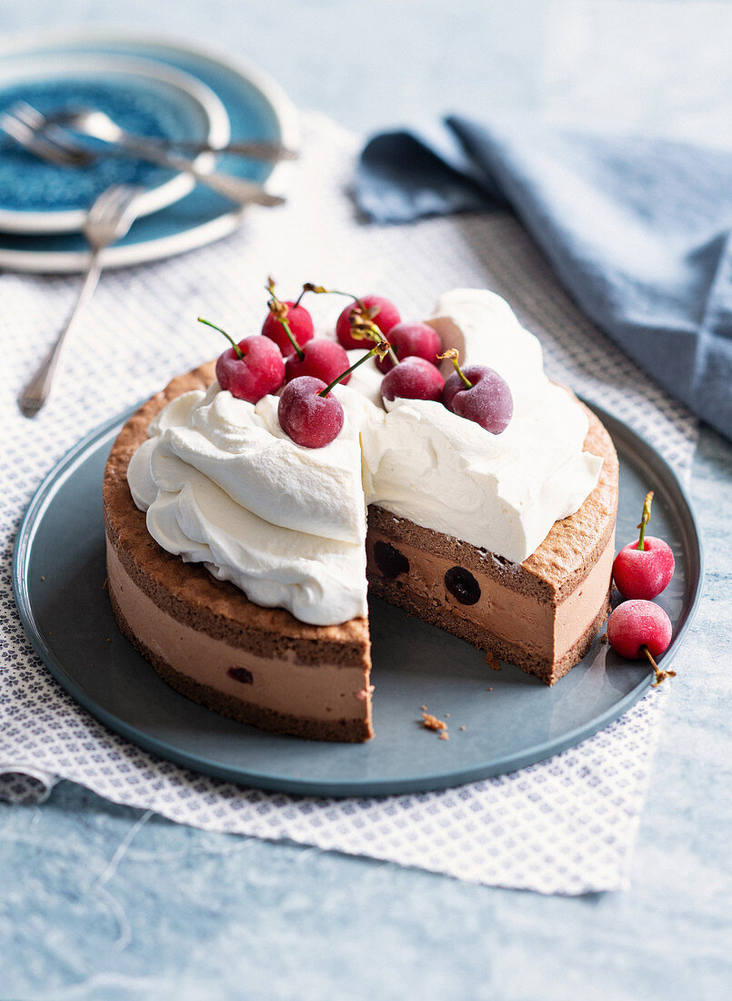 Chocolate and cherry semifreddo