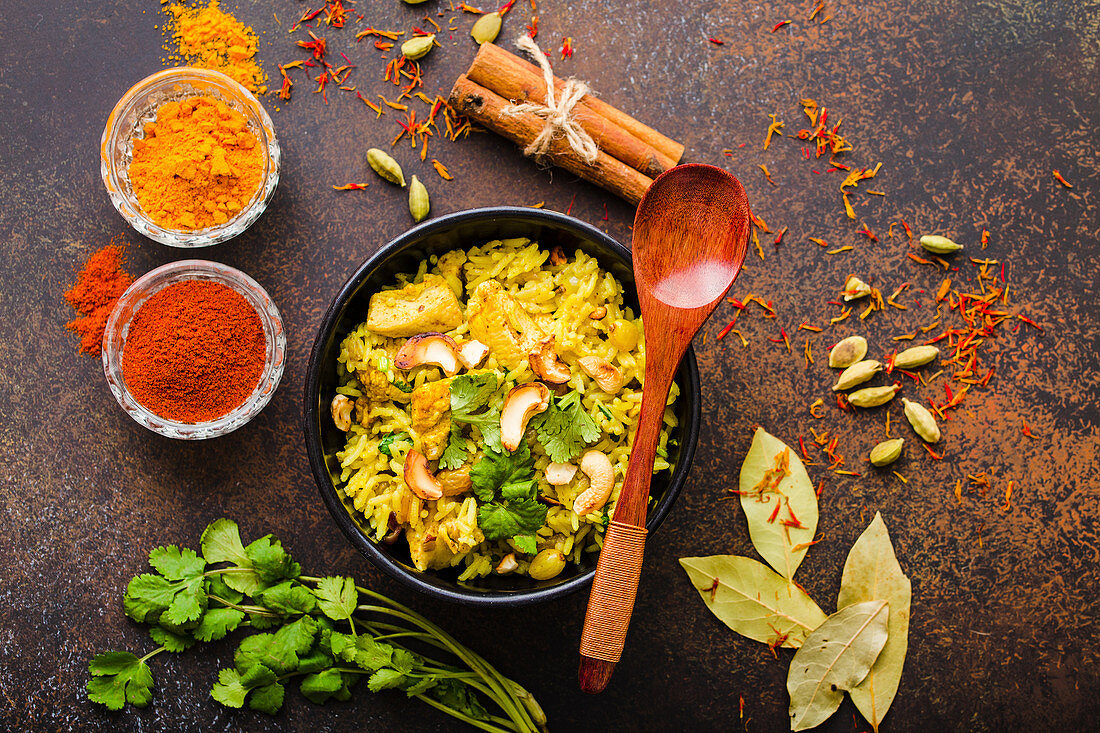 Spicy biryani with chicken and nuts