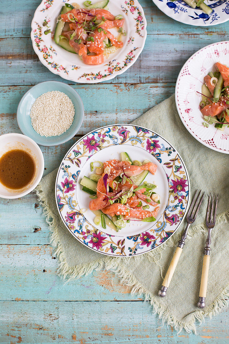Cucumber salad with marinated salmon and sesame