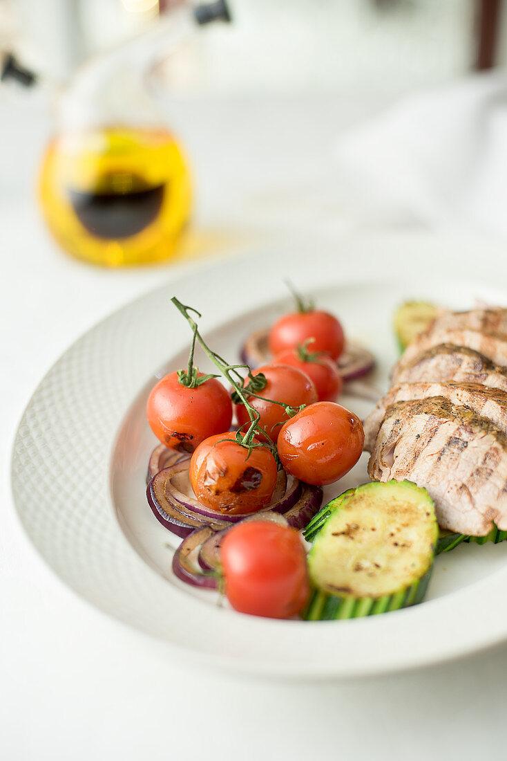 Grilled pork tenderloin with grilled vegetables