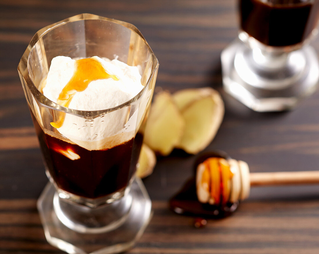 Highlander (hot alcoholic coffee beverage with honey, ginger whiskey and cream)